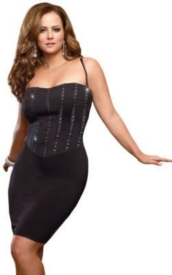 Plus Size Black Rhinestone Corset Dress WWW.FIGURESQUE.COM ...