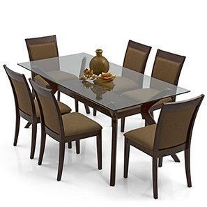 Wesley Dalla 6 Seater Dining Table Set Cappuccino Dark Walnut