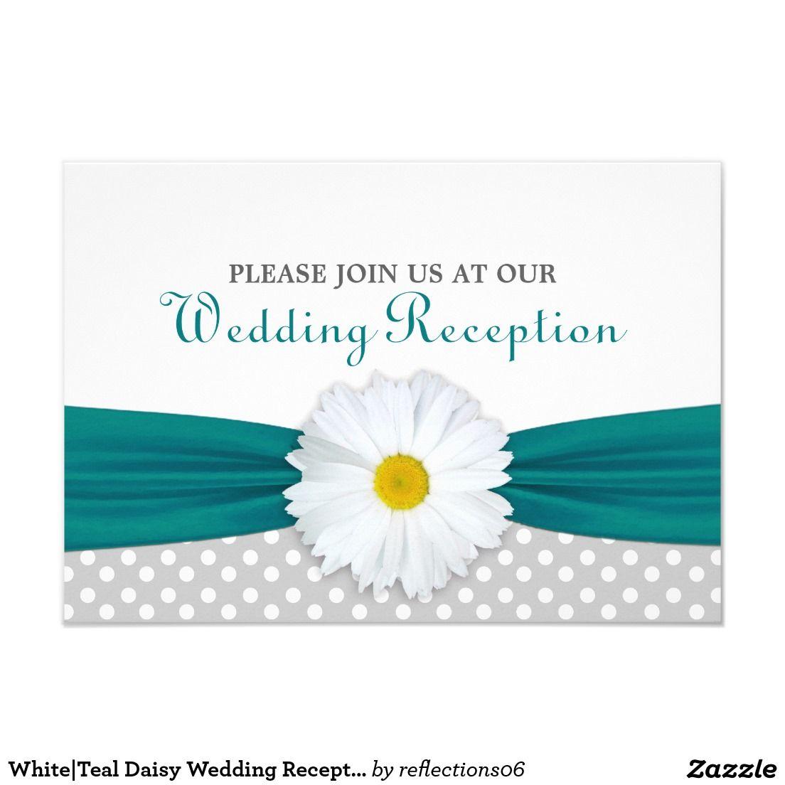 White Teal Daisy Wedding Reception Enclosure Card   Daisy wedding ...