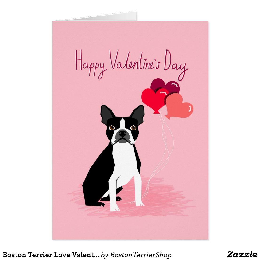 Boston Terrier Love Valentines Card Zazzle Com Boston Terrier Love Boston Terrier Dog Valentines