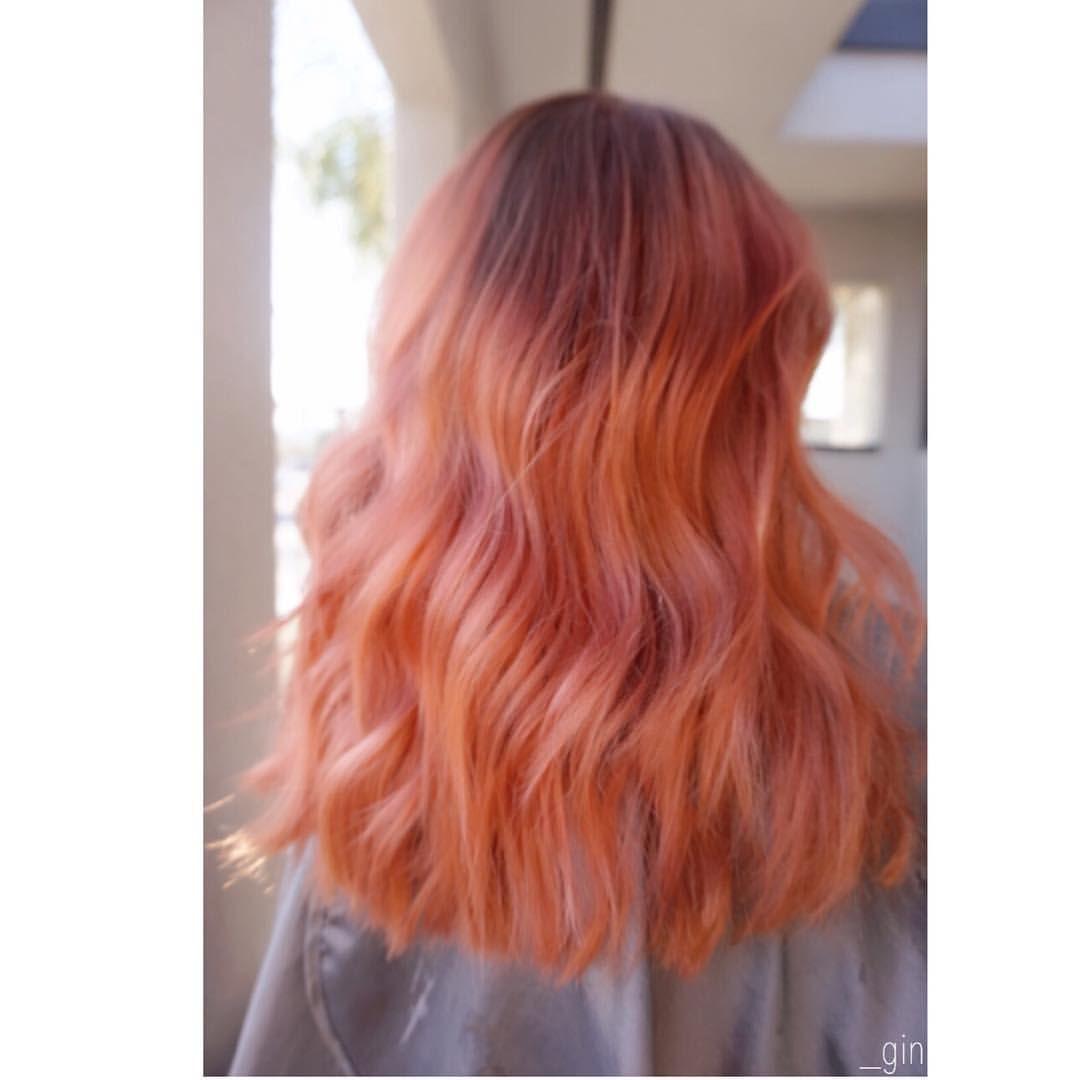 Rose Gold Hair Peach Hair Vivid Hair Pink Hair Orange Hair Salmon Hair Salmon Hair Pink And Orange Hair Light Hair Color