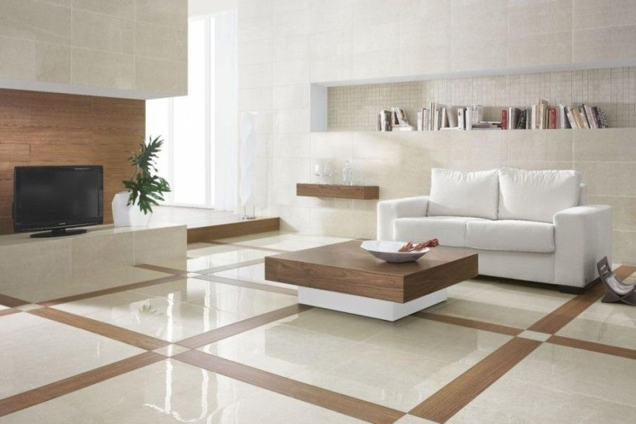 Modern Floor Tiles Design For Designing And Building A House Elegant White Floor With Woode Living Room Tiles Living Room Tiles Design Marble Flooring Design