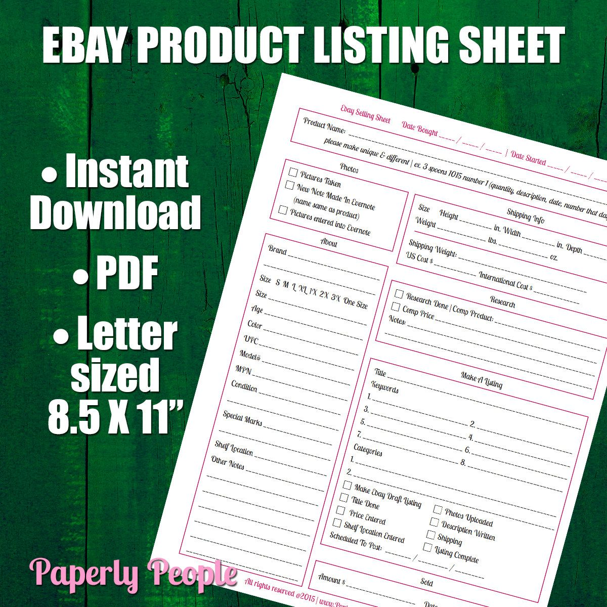 Ebay Products Listing Sheet Versions Evernote Dropbox Ebay - Ebay product listing template
