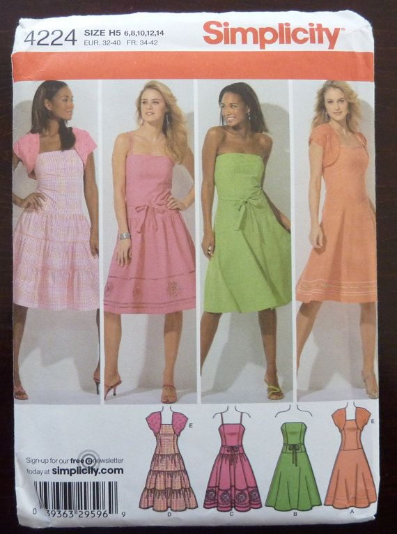 Sewing Pattern Simplicity 4224 - Misses Petite Summer Dress with ...