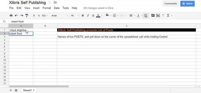 Xlibris Self Publishing presents List of Poets Google docs, Google - google docs spreadsheet