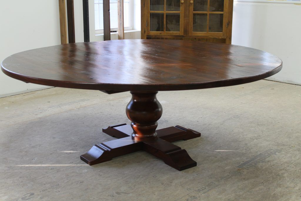 84 Reclaimed Wood Round Pedestal Table Lake And Mountain Home Barnwood Dining Table Wood Rounds Pedestal Table