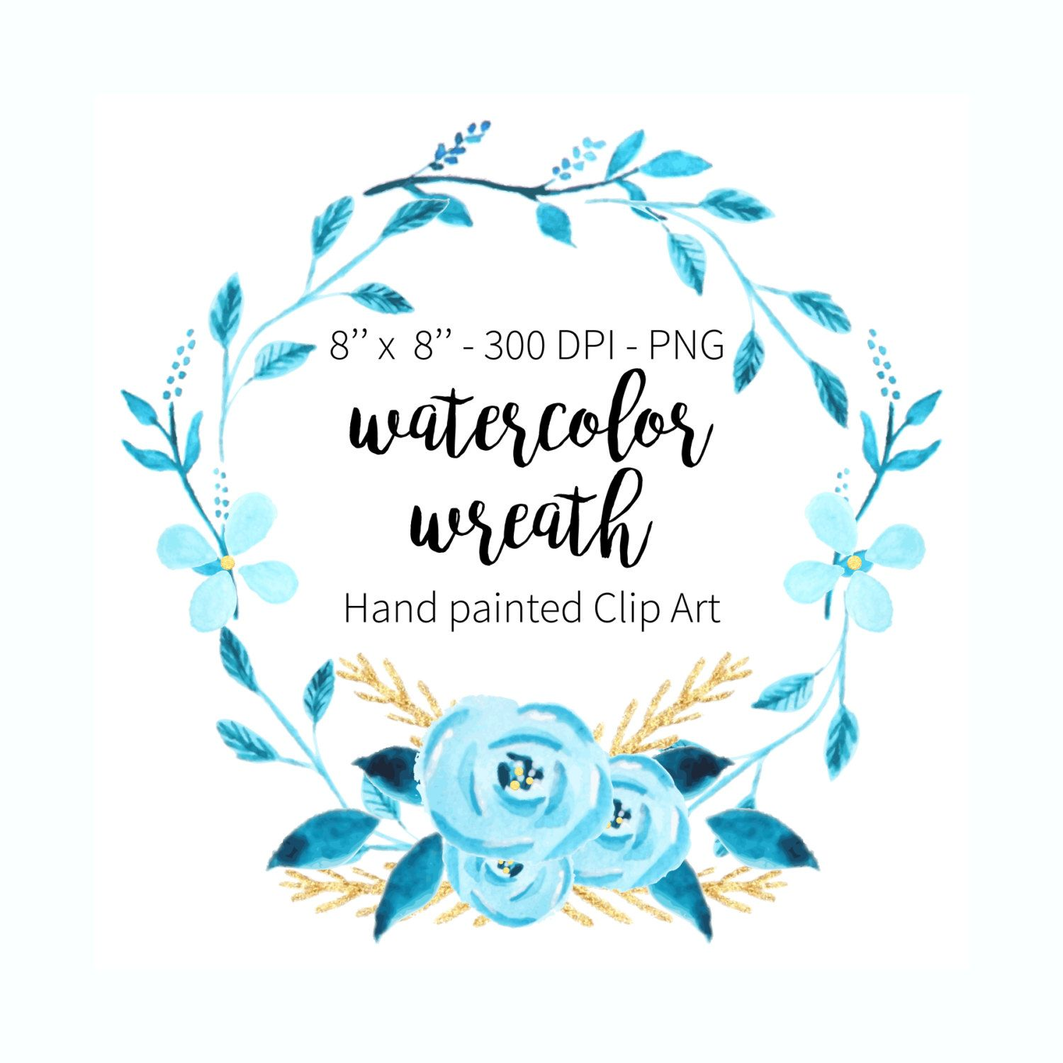 Watercolor wreath clipart wedding floral clip art blue gold floral watercolor wreath clipart wedding floral clip art blue gold floral clip art flowers izmirmasajfo Gallery