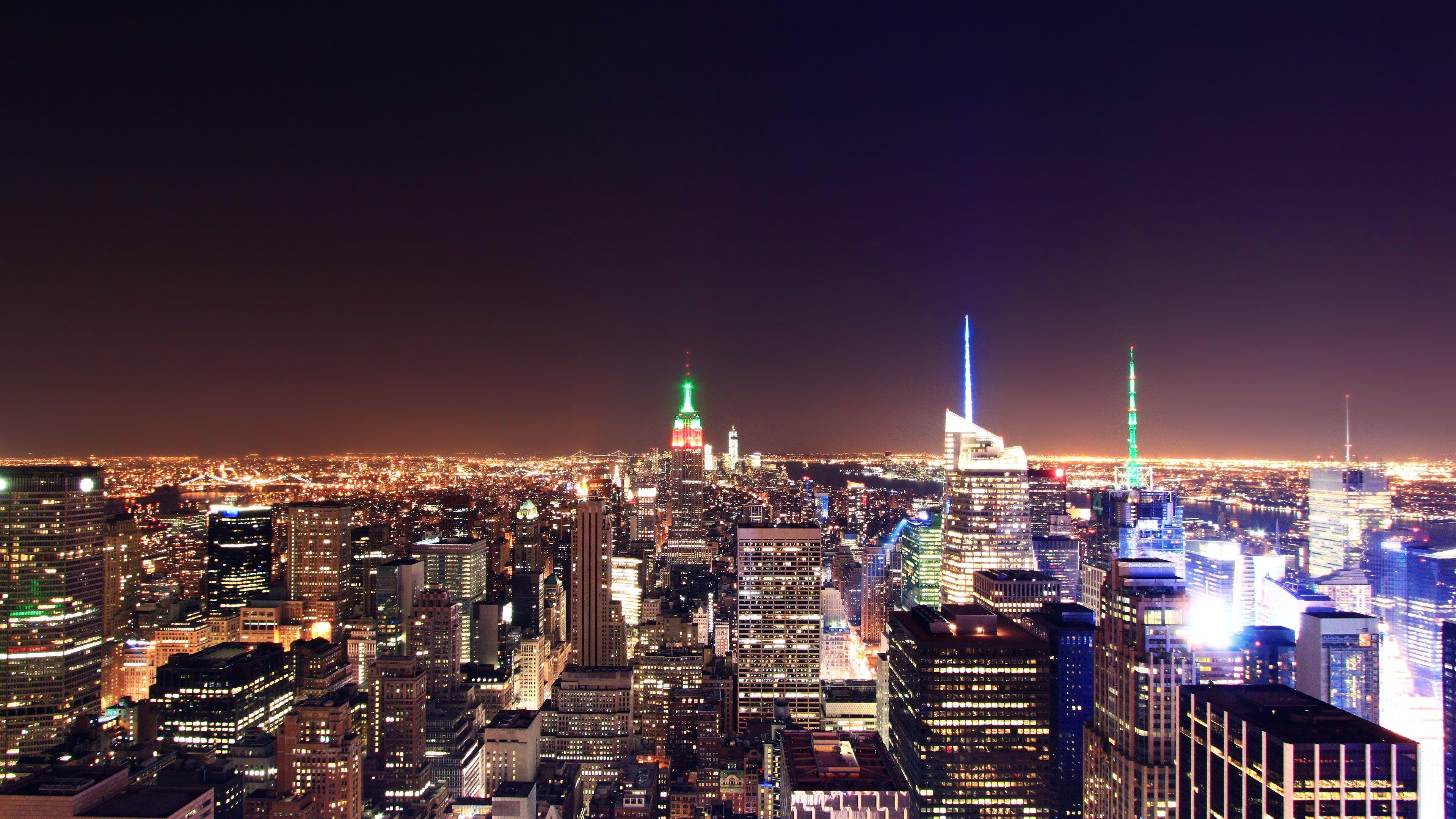 Обои manhattan, new york, здания, ночь, небоскребы. Города foto 16