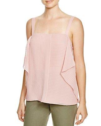 TORY BURCH Pintucked Silk Flutter Top. #toryburch #cloth #top