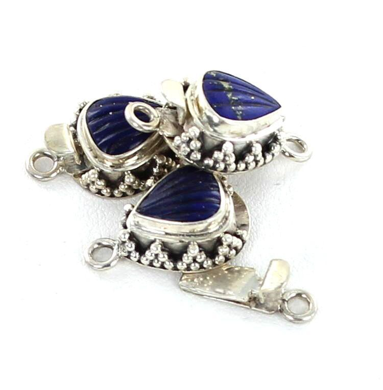 LAPIS CLASP SHELL STERLING SILVER CARVED from New World Gems