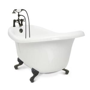 American Bath Factory Chelsea 60 In Acrylic Slipper Clawfoot Bathtub Package In White With Old Bronze Imperial Feet And Deck Mount Faucet Hd Cc Sc C Ob The H In 2020 American Bath Factory Free