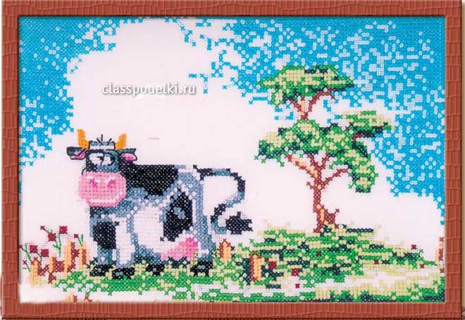 "Панно ""Корова на лугу"" крестиком.   Корова"