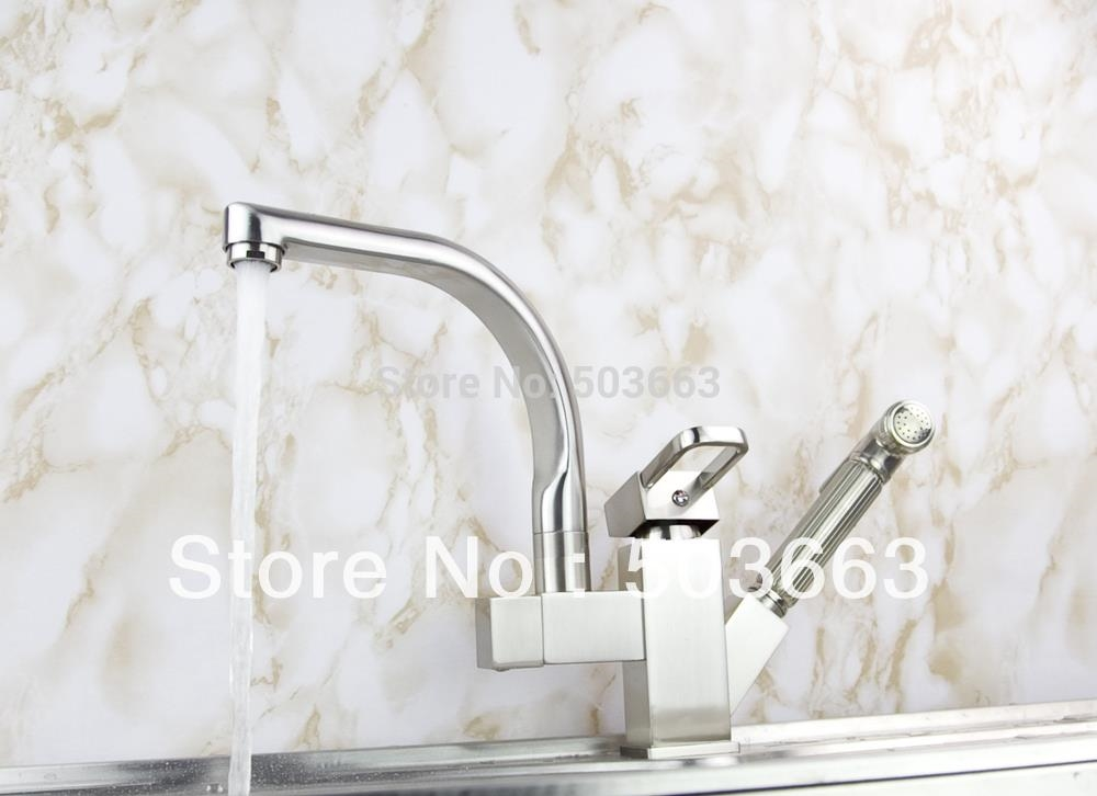71.03$  Buy now - Wholesale Pull Out And Swivel Double Outlet Brushed Nickel Kitchen Sink Brass Faucet Sink Mixer Tap Vessel Faucet Crane S-115  #magazineonline