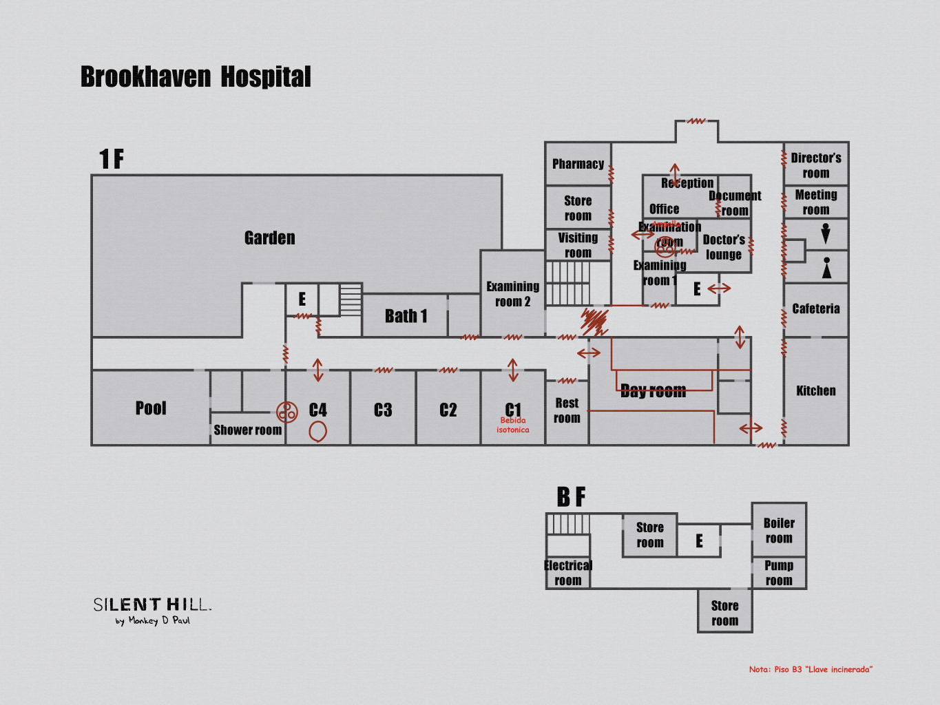 Brookhaven Hospital 1f Bf Otherworld Mapa Silent Hill 3 Room
