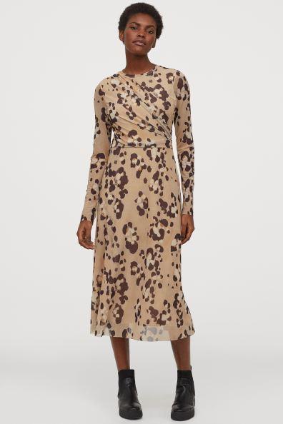 Vadlång klänning i mesh BeigeLeopardmönstrad DAM | H&M SE