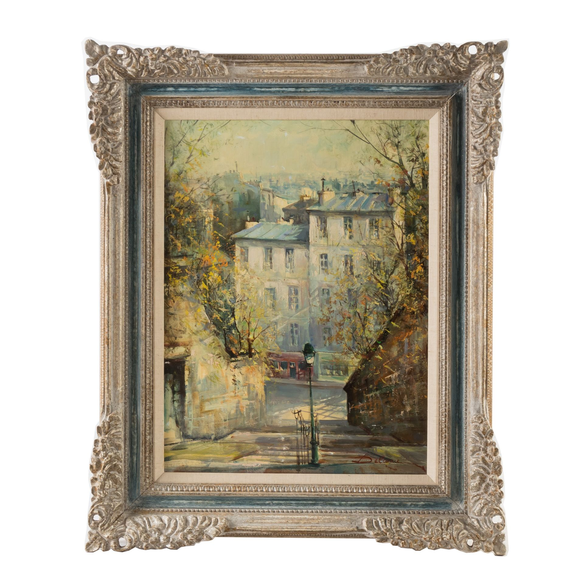 Original Oil On Canvas By Lucien Delarue Rue De Calvaire Montmartre Oil On Canvas Original Oil Painting