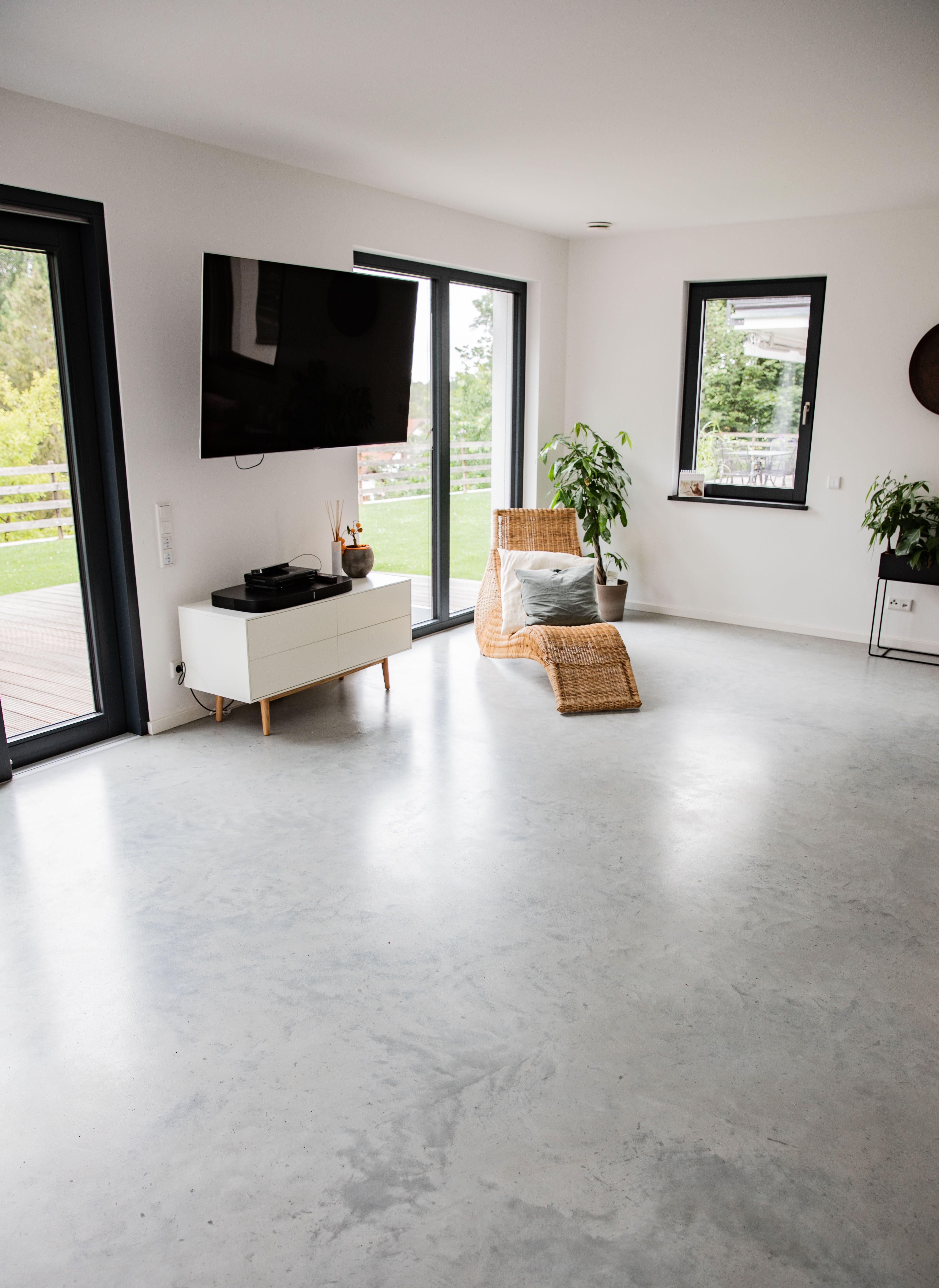 Wohnzimmer Sichtestrich Betonboden Designboden  Sichtestrich