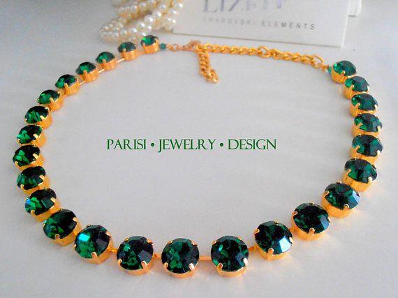 Emerald Birthstone Swarovski Crystal Necklace Statement