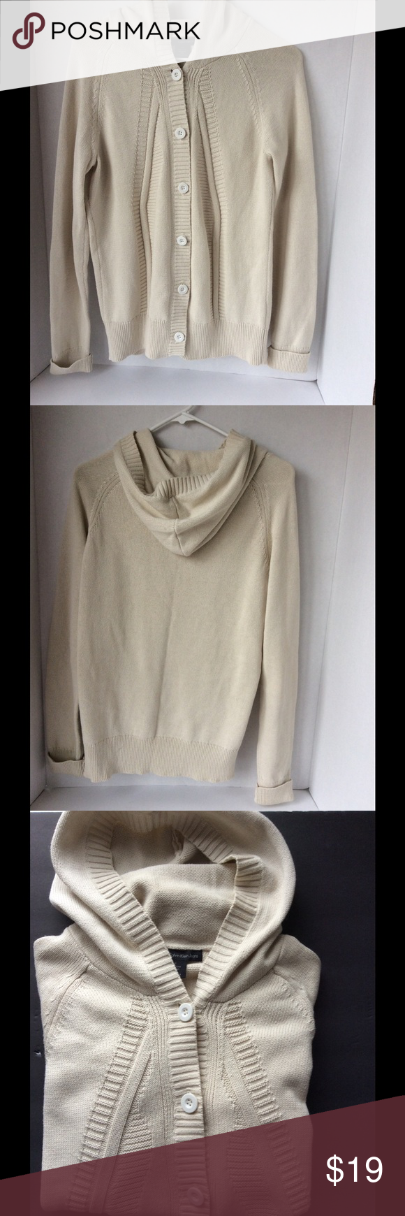 Calvin Klein Hooded Cream Knit Cardigan/Sweater💕 | Hooded cardigan