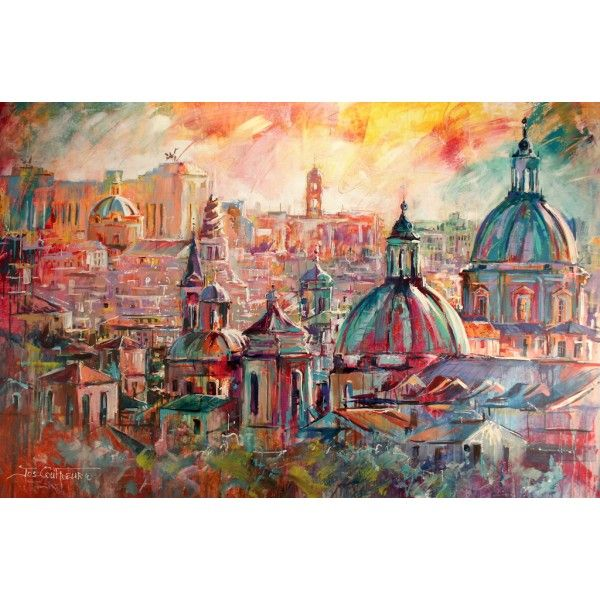 Rome Rooftops, Acrylic on Canvas by artist Jos Coufreur www.joscoufreur.com