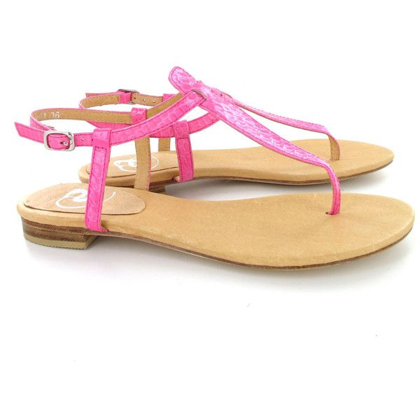 Austique Sandals Neon Pink (195 CAD) ❤ liked on Polyvore featuring shoes, sandals, flats, sapatos, zapatos, pink, flat shoes, neon pink sandals, snakeskin sandals and flat pumps