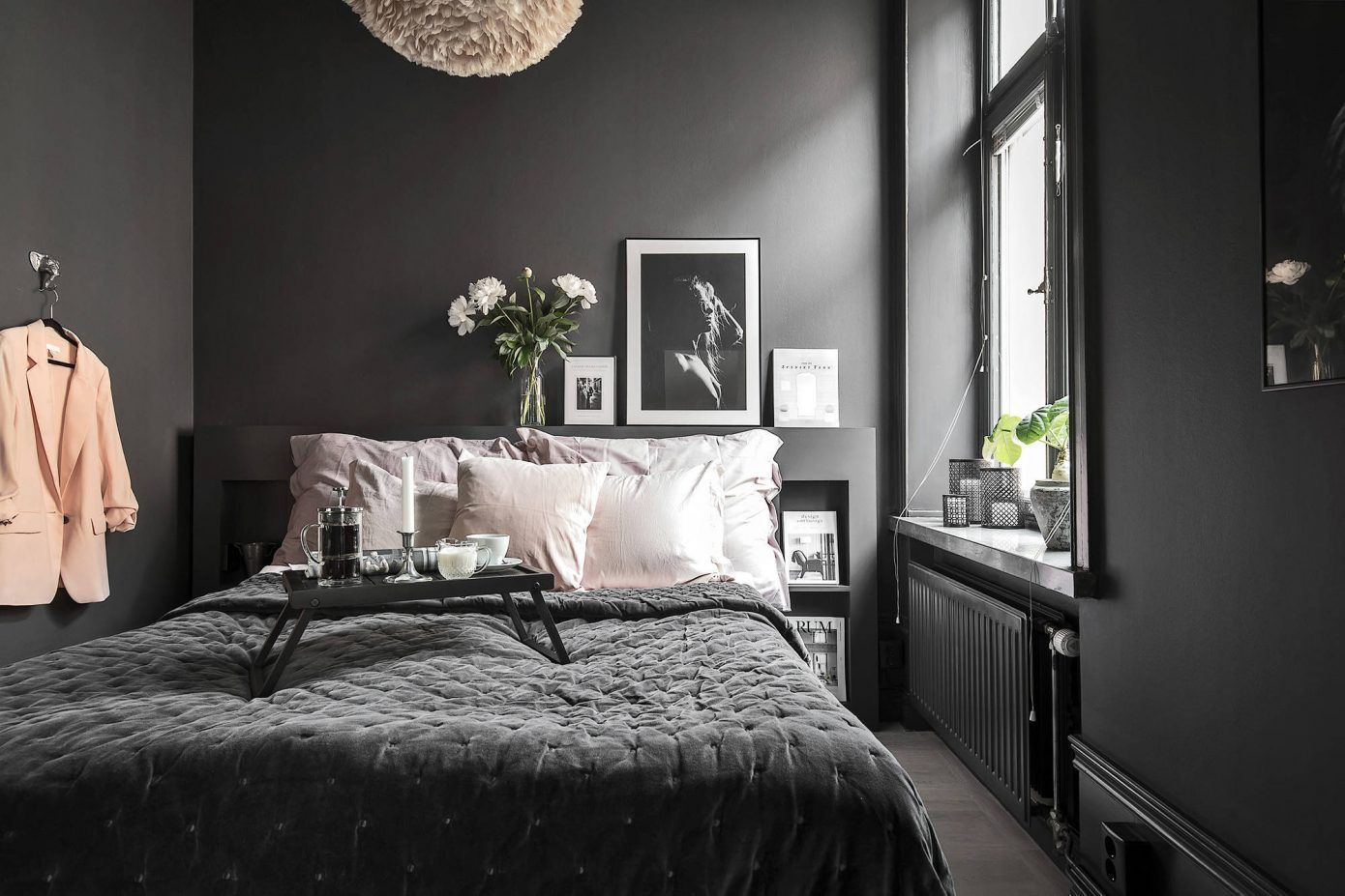 A Dark Scandinavian Apartment With A Touch Of Pink Grey Bedroom Decor Small Room Bedroom Modern Bedroom Decor