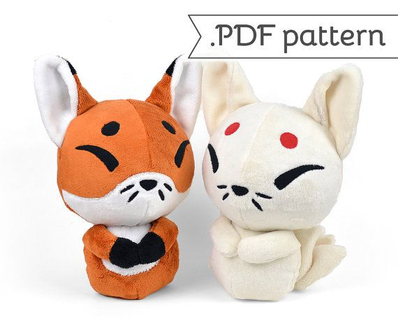Can't believe I missed the free by a week! Too cute! Kitsune Fox Japanese Kyuubi Ninetales Plush Sewing Pattern .pdf Tutorial