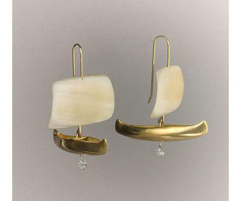 Dreams of Silver and Gold | Sailing ship earrings by Gabriella Kiss at Quadrum...