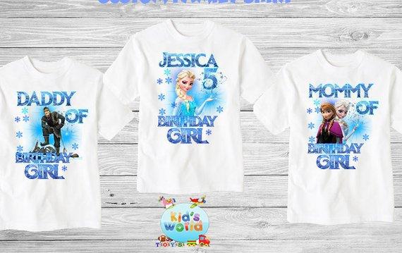 Frozen Birthday Shirt Custom Name and Age Personalized Frozen Elsa Birthday Tee