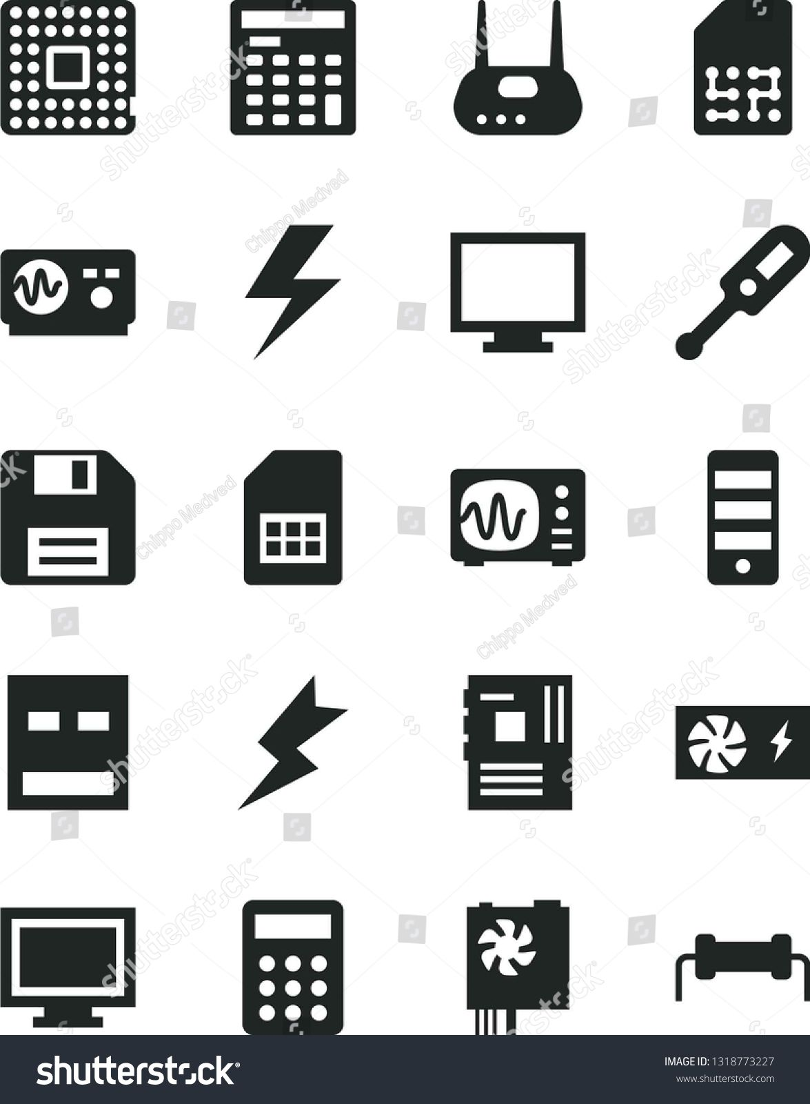 Solid Black Vector Icon Set lightning vector, floppy