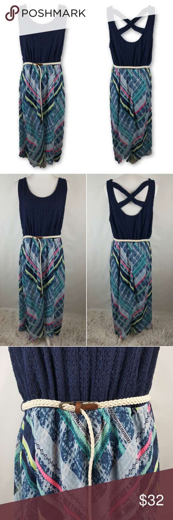 70593f290f7 Maurices Plus Size 3X Maxi Crochet Dress w  Belt Maurices Vanity Size 3 is  Equal to a Womens 3X or 24-26 Great Condition! No rips