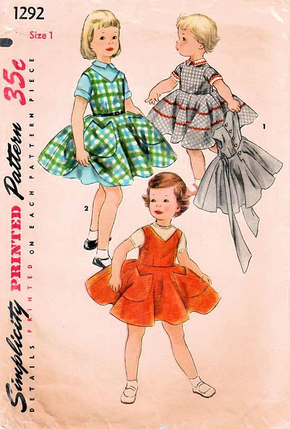 1950s Simplicity 1292 Vintage Sewing Pattern Toddler One Piece ...