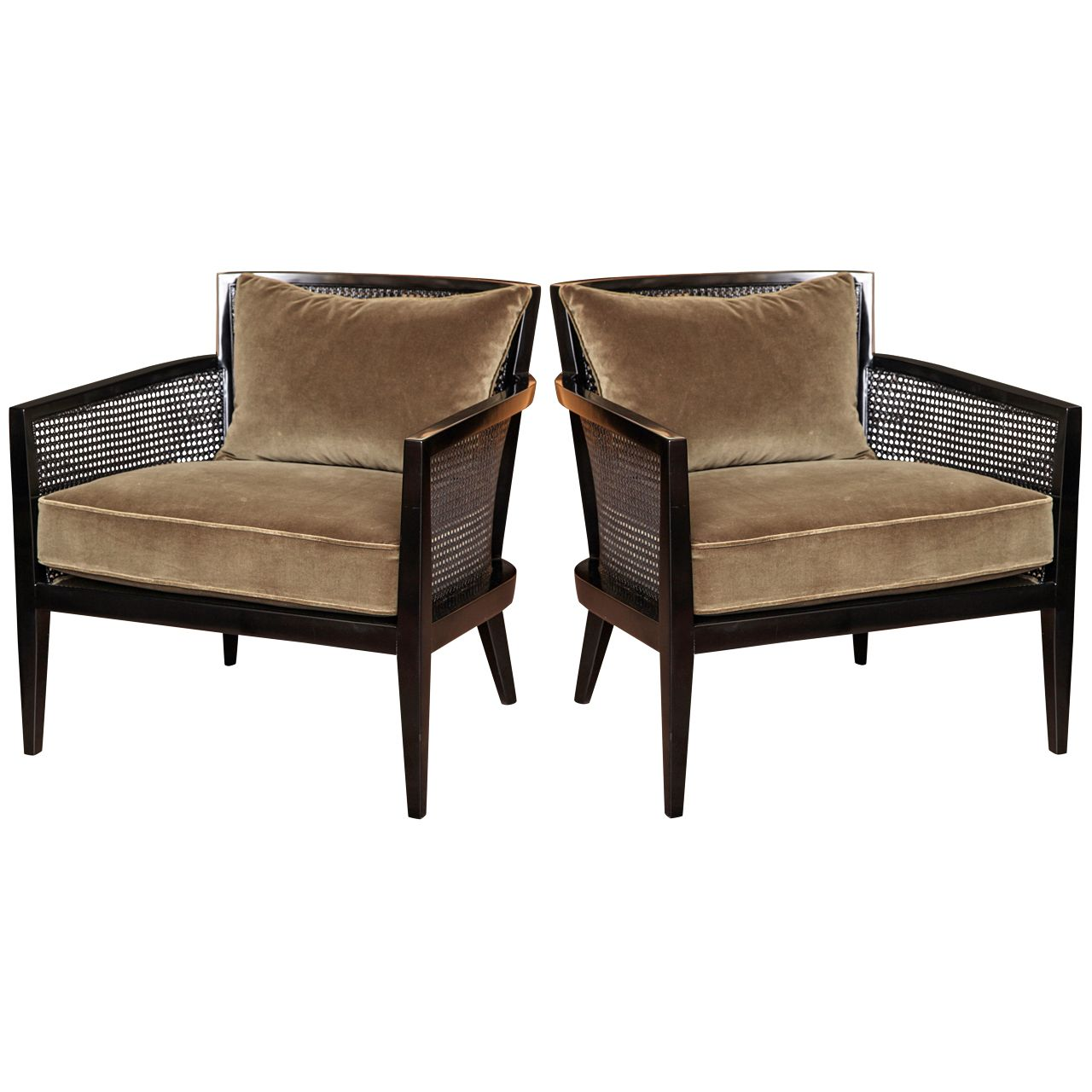 Pair Of Cane Armchairs By Harvey Probber c. 1960 | Sillones