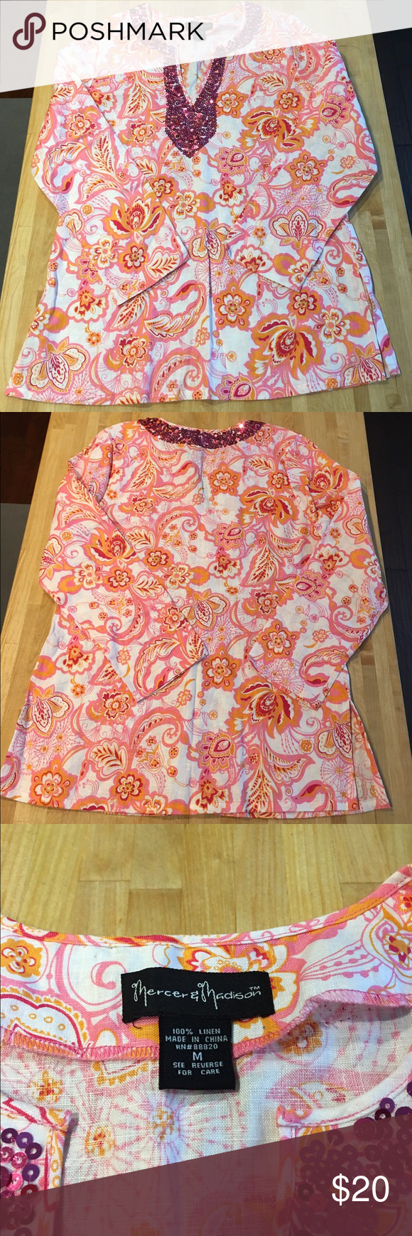 1739cc236fc Bright paisley Mercer & Madison Tunic Top Pink and orange linen top with  sequins around the neckline. Like new! Mercer & Madison Tops