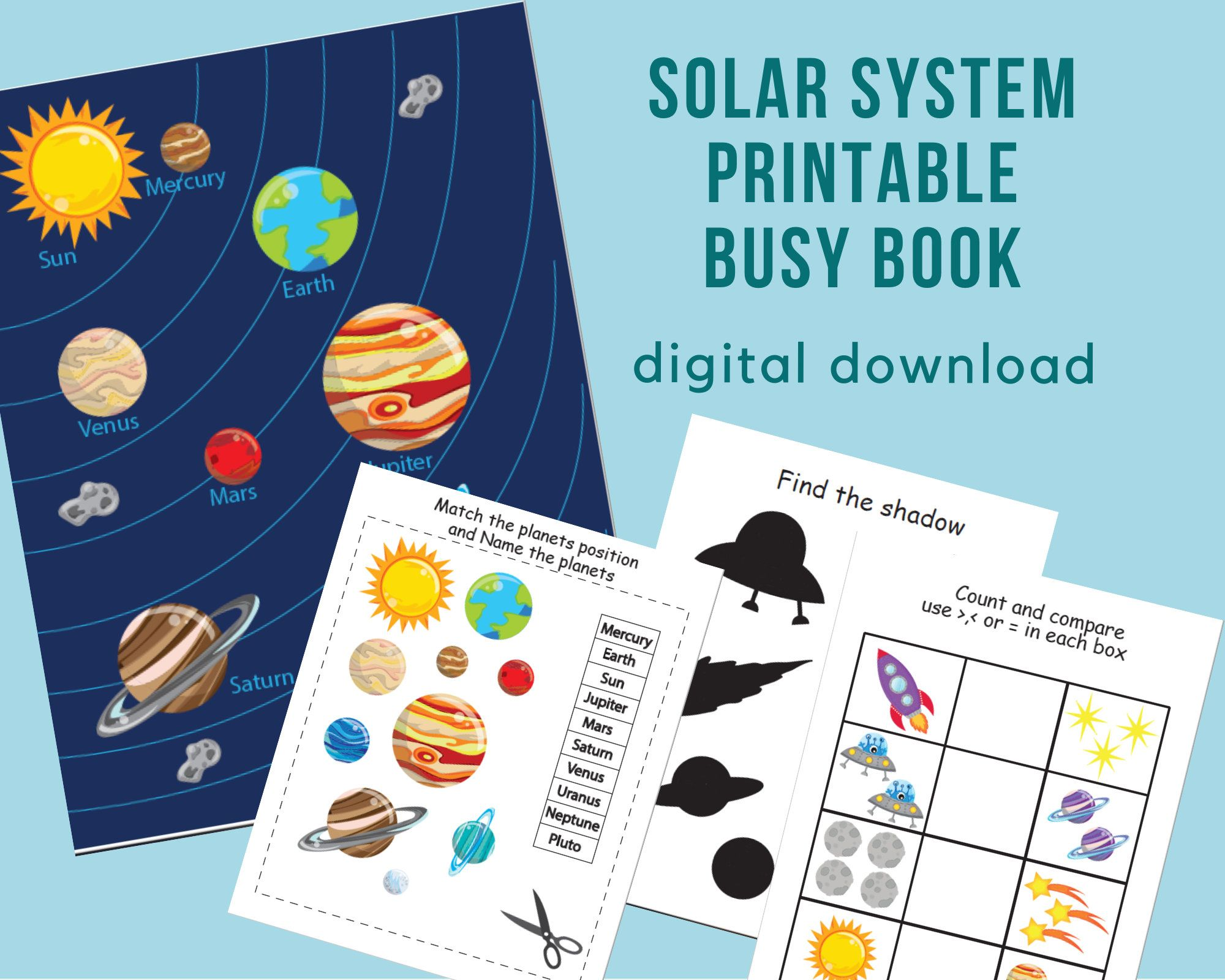 Solar System Printable Busy Book Printable Quiet Book Sort