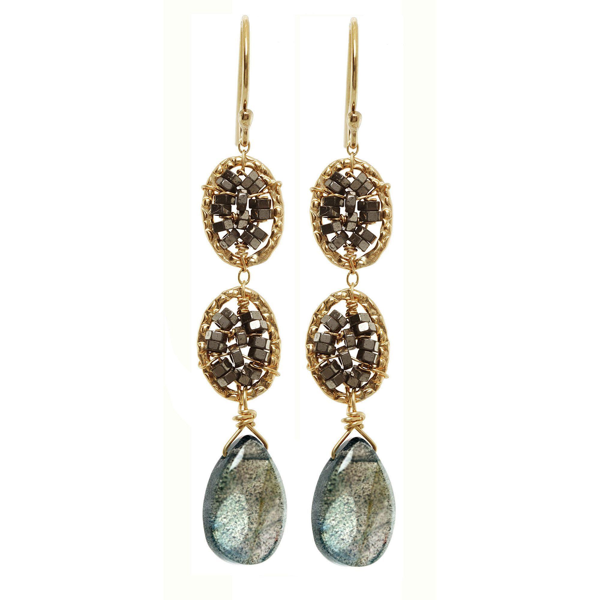 Hematite and Labradorite Earrings 3025 by Michelle Pressler
