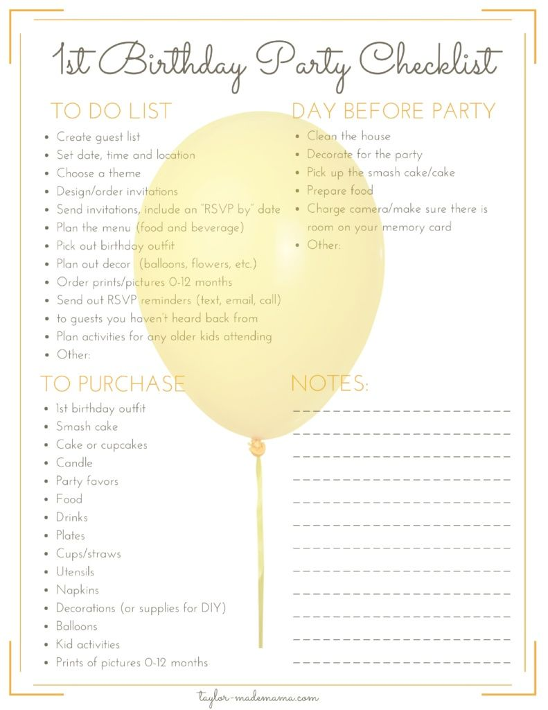 photograph regarding 1st Birthday Party Checklist Printable called The Best Initially Birthday Occasion Creating And Reward Specialist