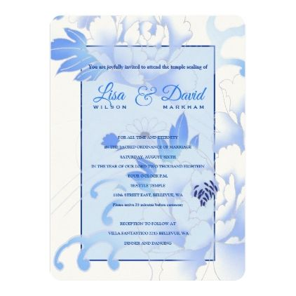 Temple Wedding & Reception Invite-Blue Peonies Invitation | Zazzle.com #bluepeonies