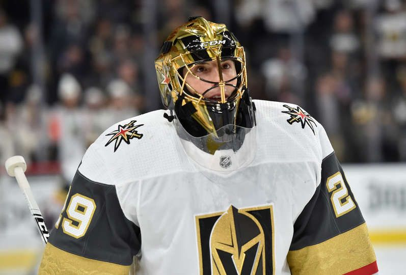 Las Vegas Nv December 23 Marc Andre Fleury 29 Of The Vegas Golden Knights Warms Up Prior To A Game Against The Los Angeles Kings At T Mobile Arena On Decem