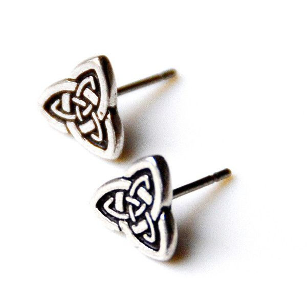 Celtic Knot Stud Earrings (£8.55) ❤ liked on Polyvore featuring jewelry, earrings, surgical steel stud earrings, knot jewelry, stud earrings, surgical steel earrings and celtic jewellery