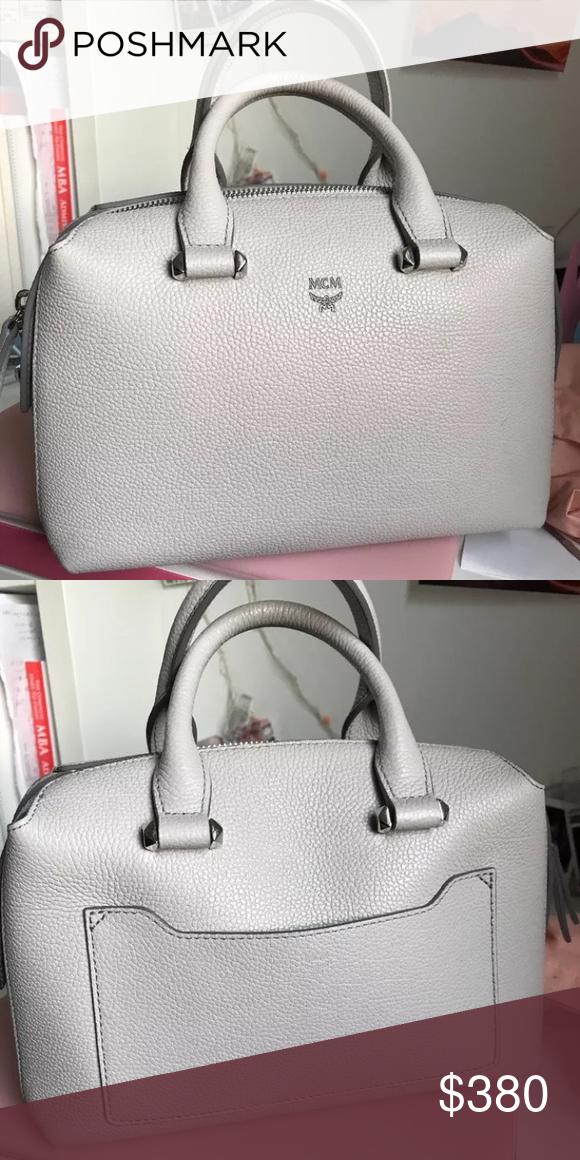 288546143d052d MCM Ella Boston Bag (Small) Pre-owned Boston bag from MCM in grey color. MCM  Bags Crossbody Bags
