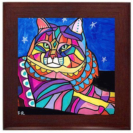 Cat Folk Art Ceramic Framed Tile by Heather Galler - Tabby Cats Lover Ready To Hang Tile Frame Gift