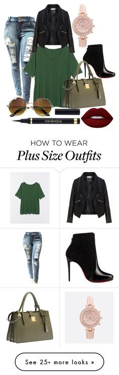 """""""Plus size rocks!"""" by danny0803 on Polyvore featuring Lane Bryant, Zizzi, Christian Louboutin, Avenue, Lime Crime and Miu Miu"""