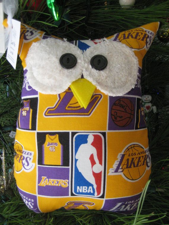 Hooters Stuffed Owl Pillow Lakers featuring  NBA Los by sweetpitas, $14.00
