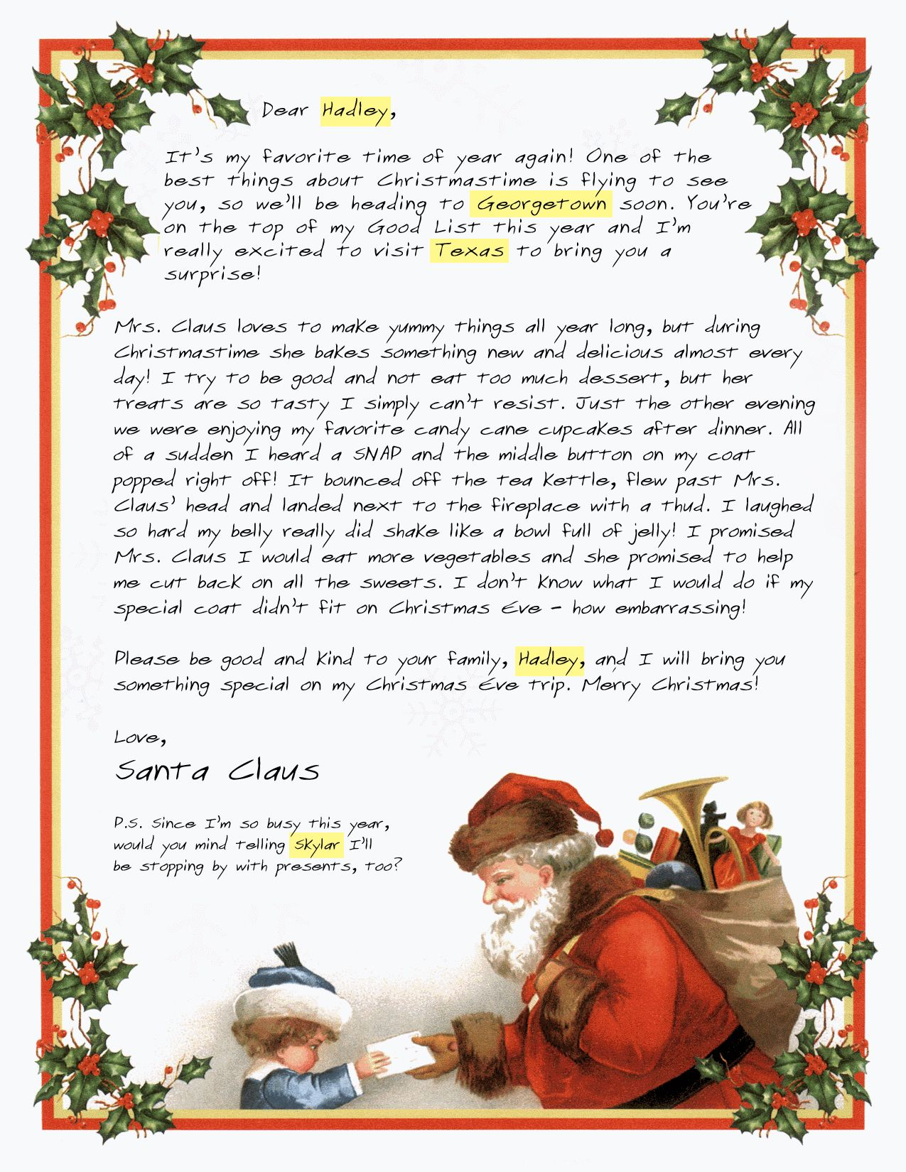 Customized Letters From Santa Claus To Your Child  Santa Letters