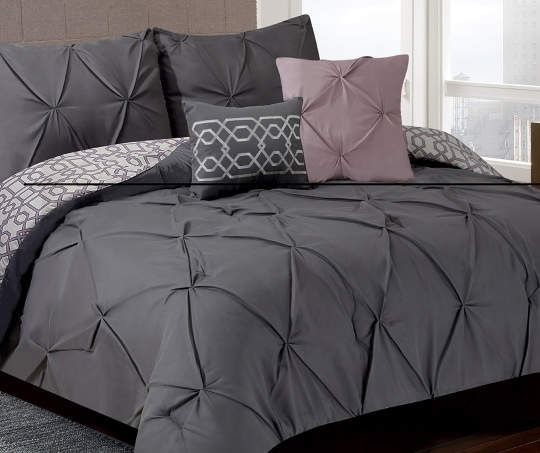 Living Colors Gray Mauve Texture Queen 5 Piece Comforter Set Bed Linens Luxury Comforter Sets Bedding Master Bedroom