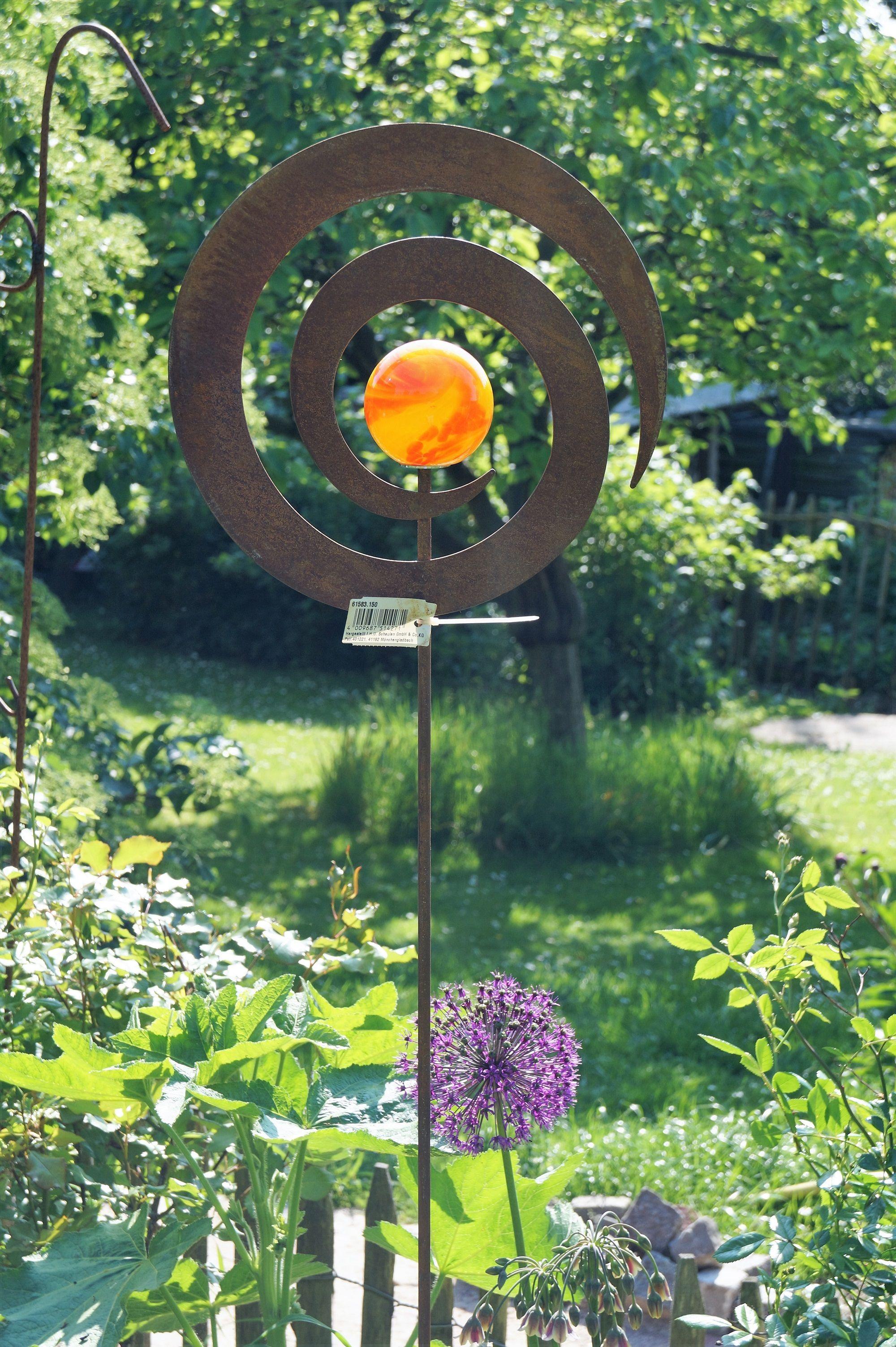 Edelrost gartenstecker spirale mit glaskugel for Edelrost skulpturen
