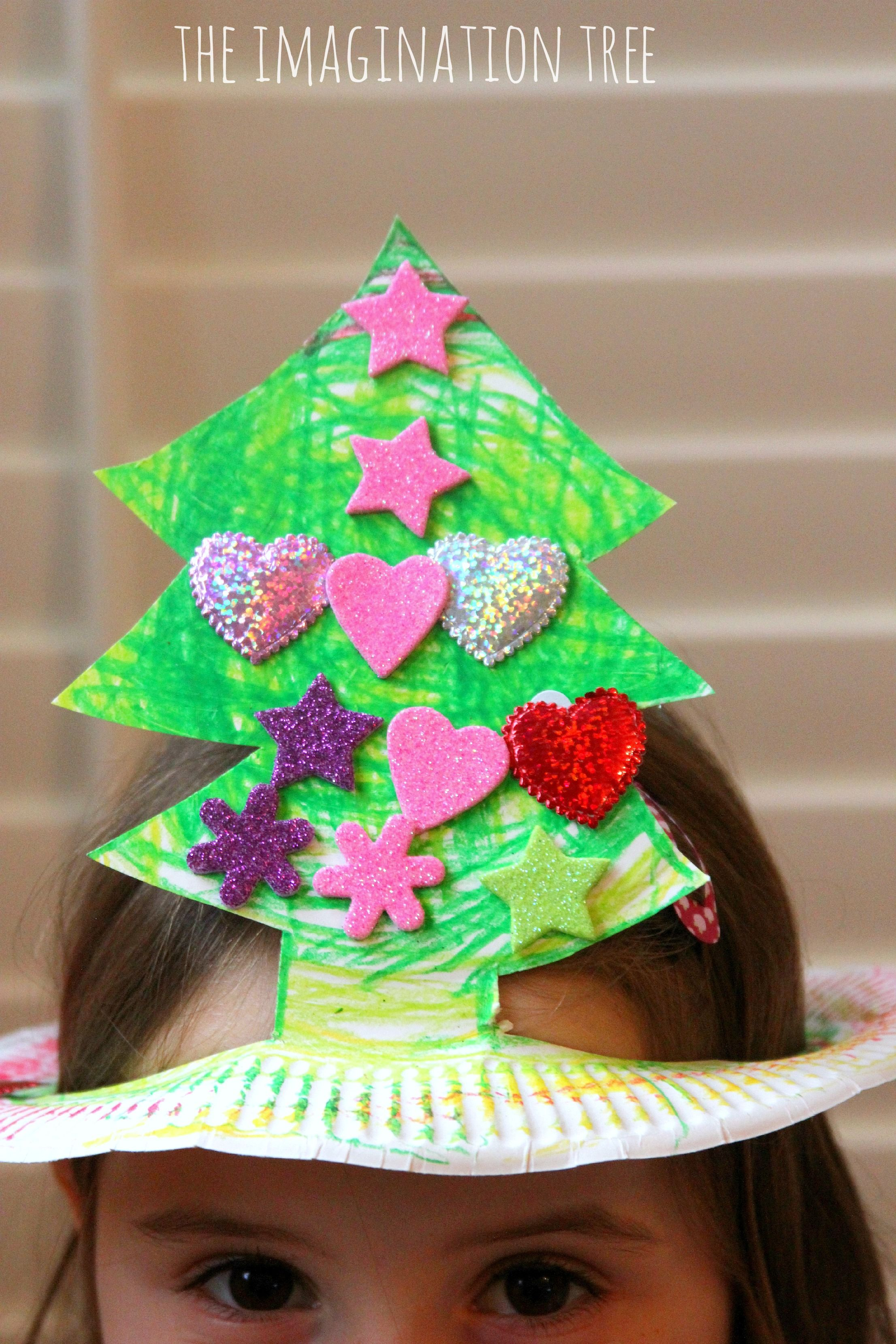 Paper Plate Christmas Tree Hat Craft Christmas Tree Hat Preschool Christmas Xmas Crafts