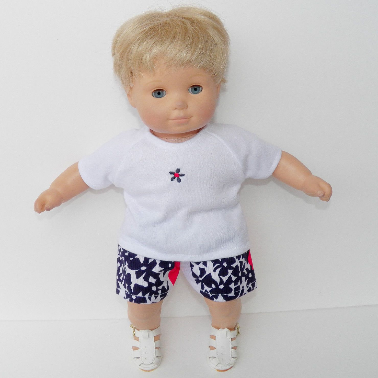 bitty baby clothes doll girl 15 Red White Blue t shirt flower shorts