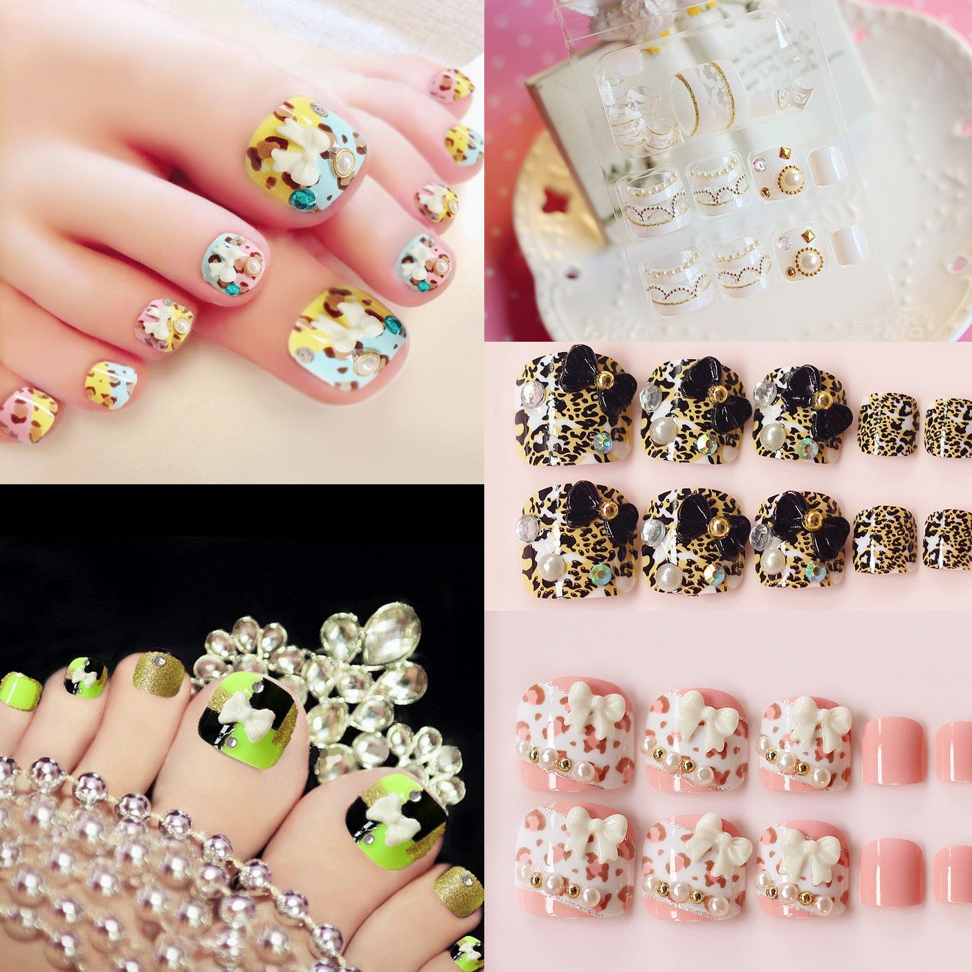 False Fake Toe Nails Pink Lace Fake Nails Toes Flower Pearl Diamond ...